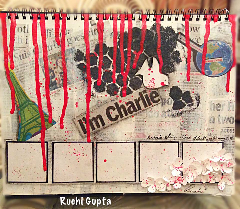 This mixed media collage, made from today's newspaper by Ruchi Gupta emphasizes her sentiments towards the attack on mankind's freedom of expression.
