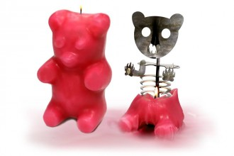 +Soot And Candle Art Angry Owl Skeleton Candles