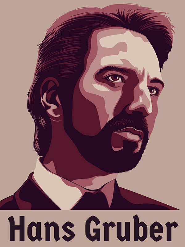 This absolutely excellent sketch of Alan Rickman as Hans Gruber in Die Hard by Edward Booth.
