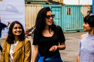 A light moment between Giulia and Rashika Sood, co-founder of The Yellow Sparrow