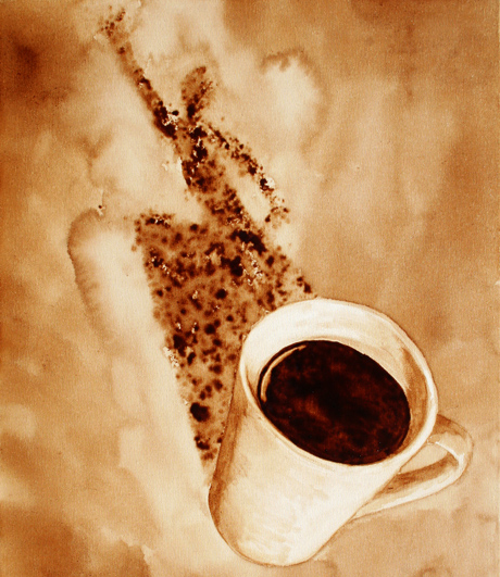 Latte art adroit stains of caffeine the yellow sparrow for Painting with coffee grounds