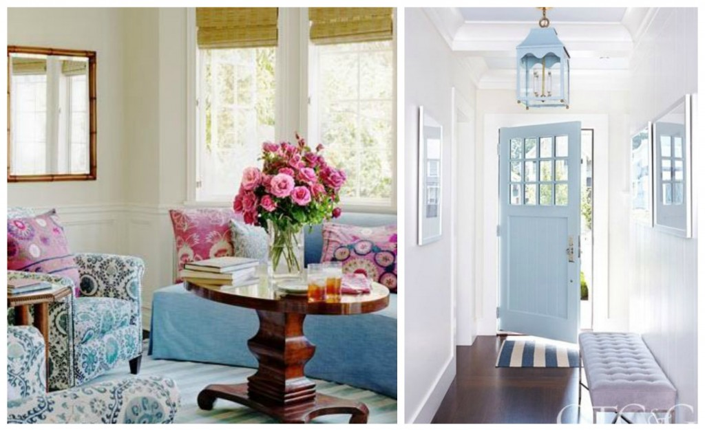 Airy Blue couches and doors