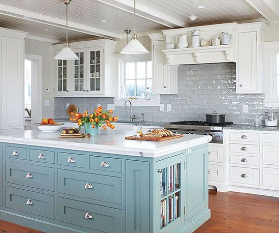 Airy blue kitchen space