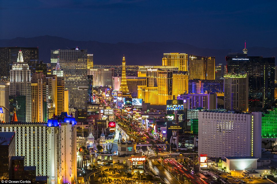 In dramatic contrast, today's main strip in Las Vegas is vibrantly illuminated by hotels and casinos as far as the eye can see.