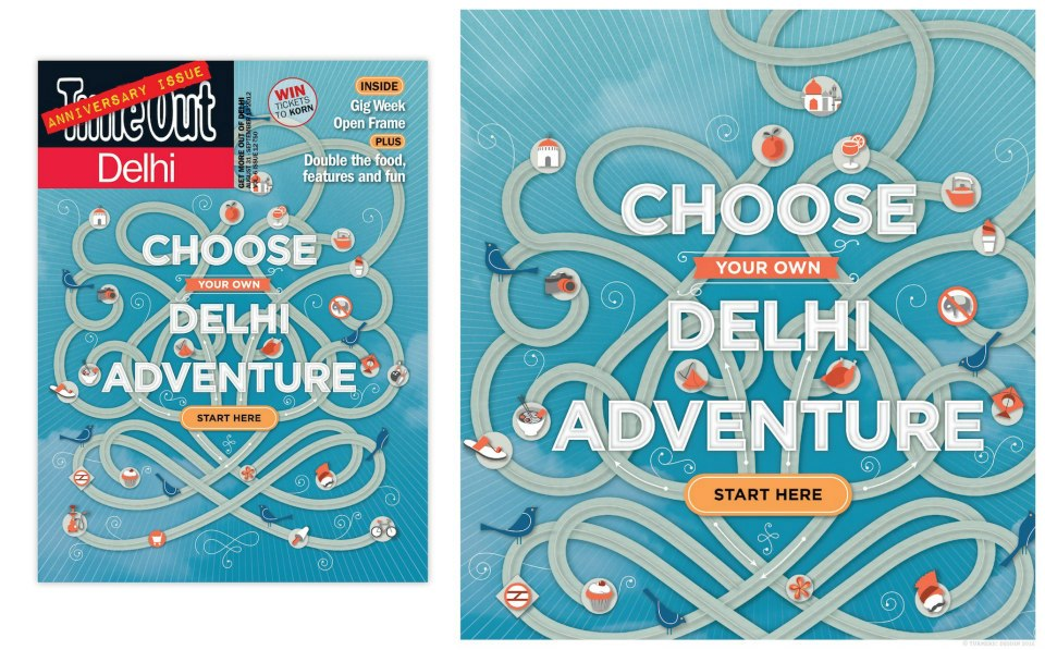 Cover illustration and custom icons design for Time Out Delhi's anniversary issue