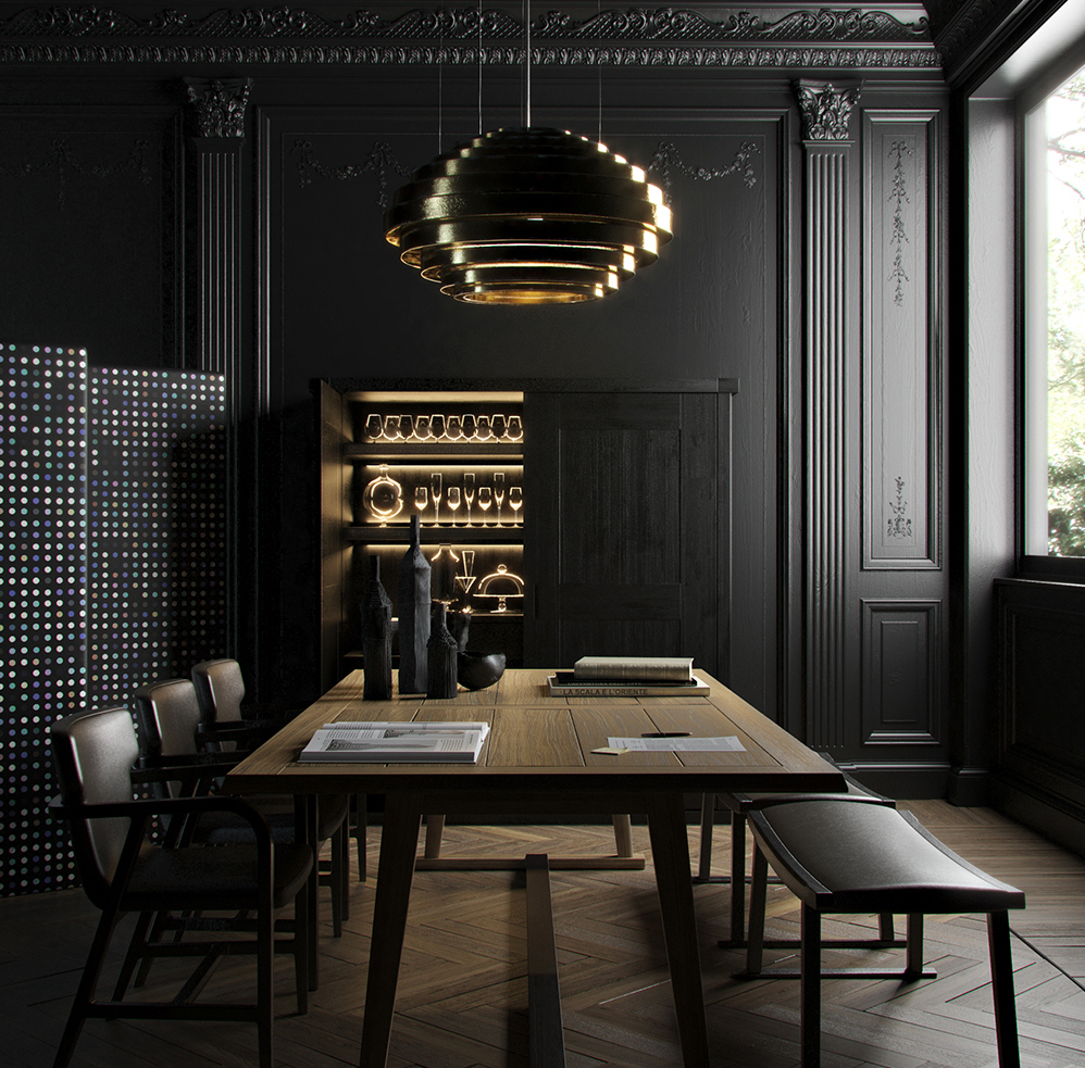 Black-gold-dining-room-decor