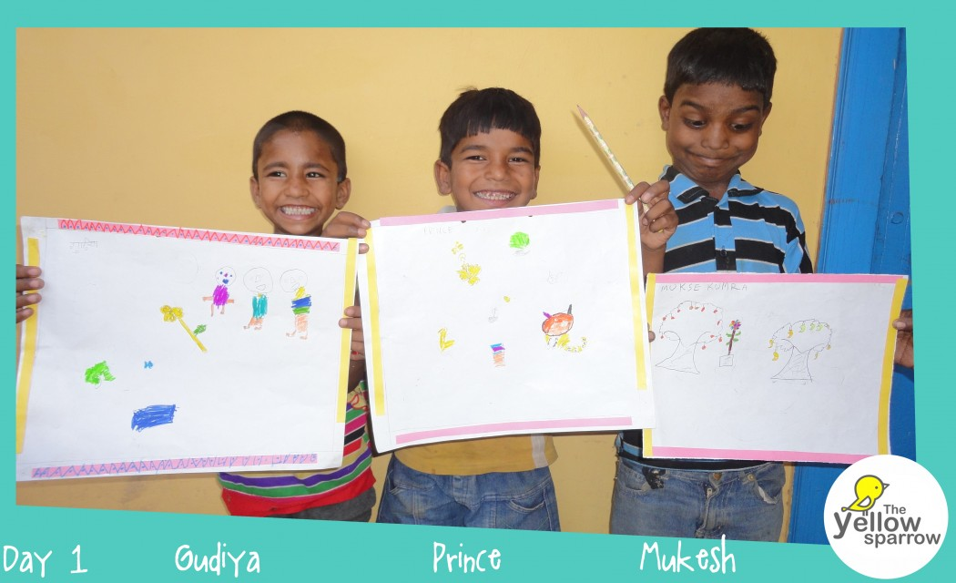 Gudiya, Prince and Mukesh with their artworks!