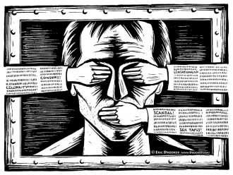 Censorship illustration by Eric Drooker