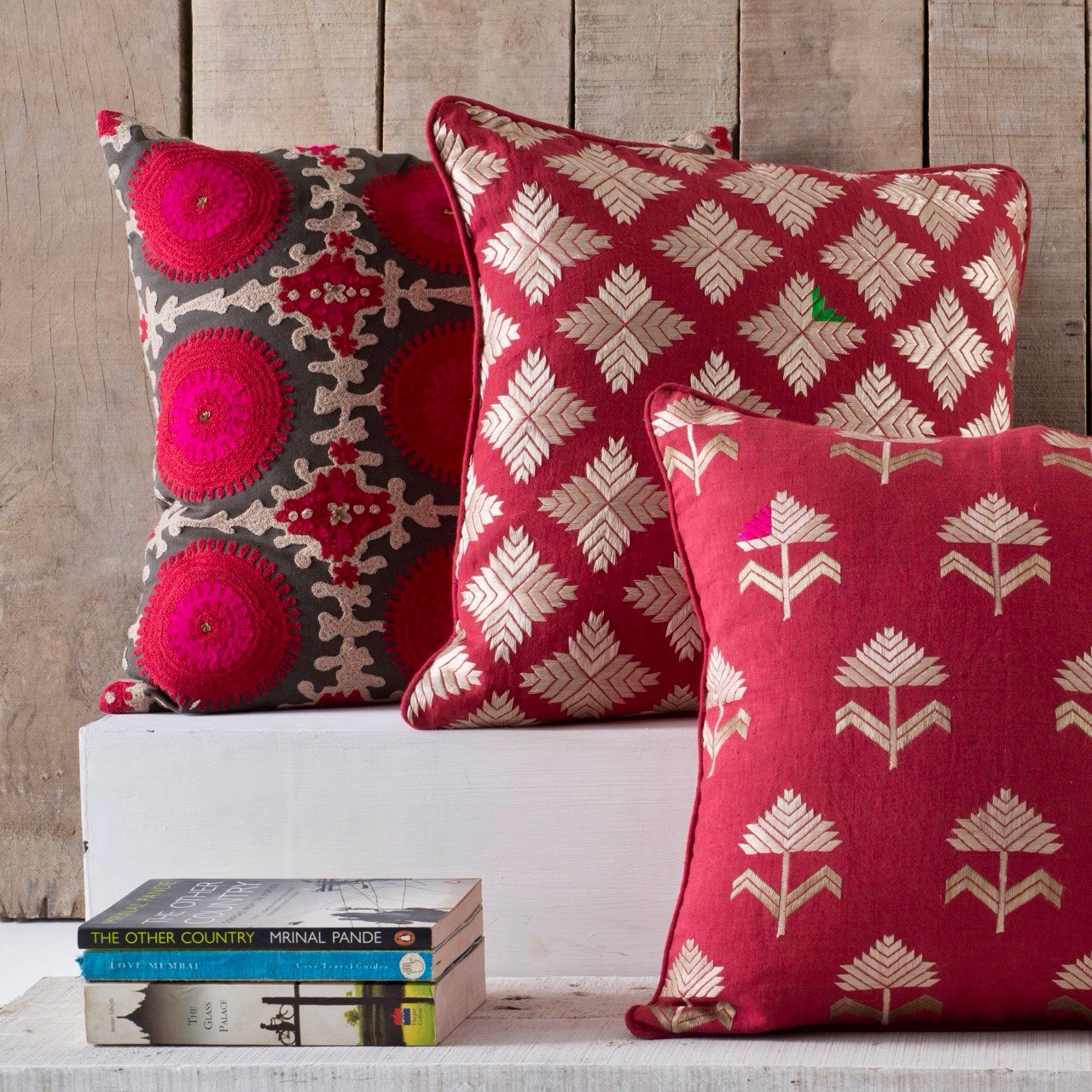 Phulkari embroidered cushions for a pop of colour in a Indian Minimalist's living room